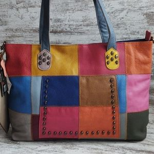 ⚄NWT AmeriLeather Skull Stud Patch Tote